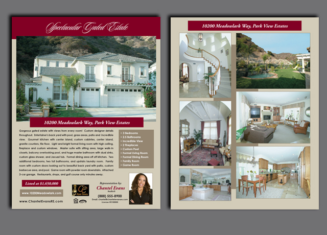 High quality premium color real estate flyers for a great impression!